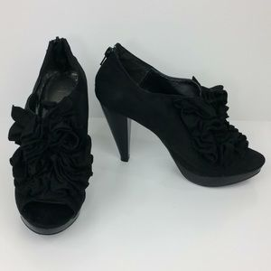 "Maurice's black ruffle top faux suede 4"" heels"